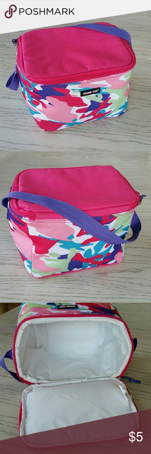 Fridge Pak Small Cooler Bag Preowned Fridge Pak cooler in camo pink, used once, dual top zipper,  clean interior, L9 x H6.5 x W7. Bundle to save 30%. Fridge Pak Bags Mini Bags