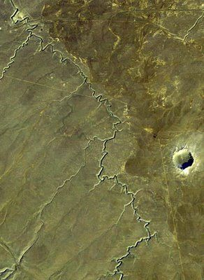 The meteor crater in Arizona, USA is large enough to be seen from outer space.