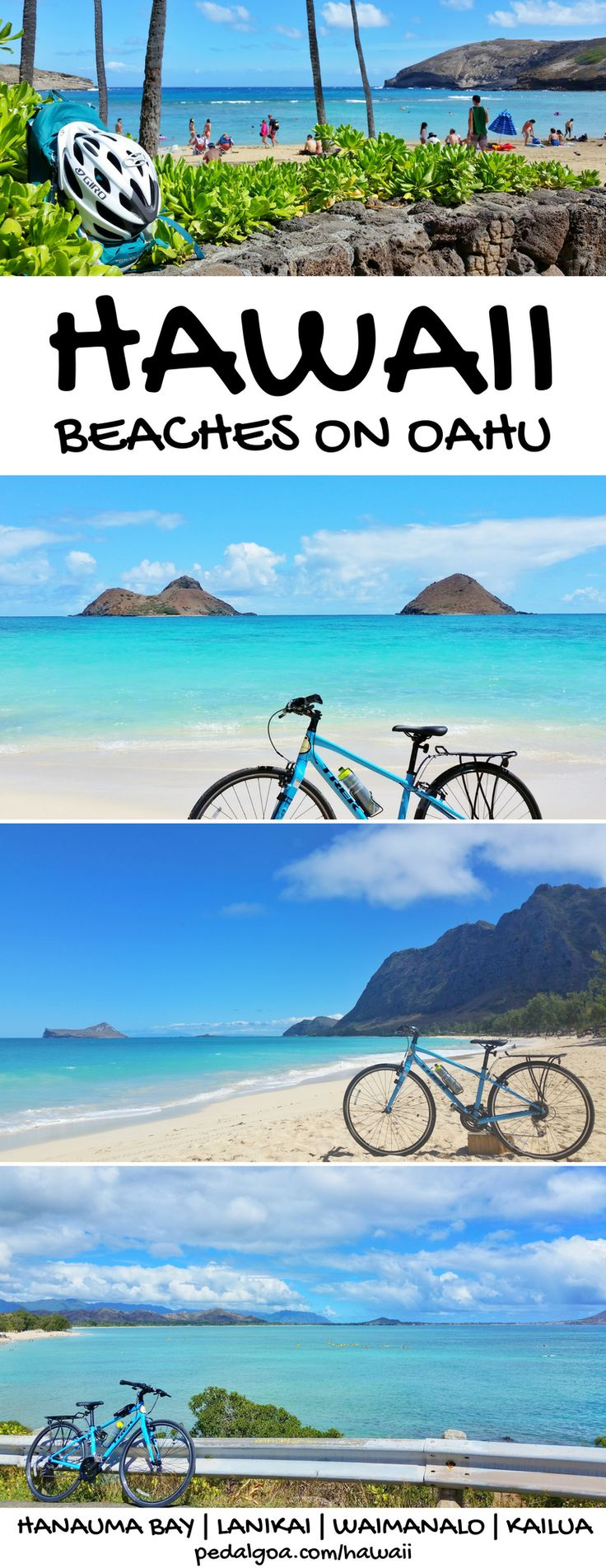 Hawaii beaches and vacation tips with things to do in Oahu Hawaii as outdoor activities like biking, hikes, beaches, snorkeling from Waikiki, Kailua, Lanikai, Honolulu, with Oahu map. Checklist of Oahu activities for Hawaii bucket list destinations. Use it as a potential day trip itinerary as a self-guided tour with Hawaii cycling! North Shore has a bike path too!USA travel destinations for world adventures! So put outfits on the Hawaii packing list for what to wear and what to pack for…