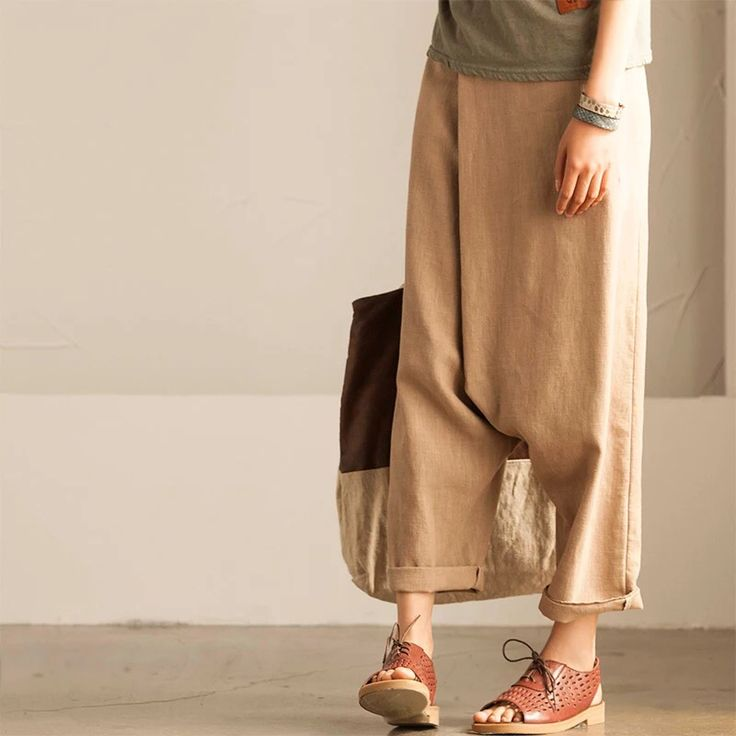 Cotton linen long trousers women clothes Pinned by @Manaro Design  Jewelry | Beading | Bracelet | Necklace | Earrings