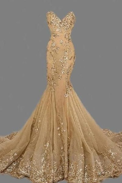 Fashion Sexy Gold Sweetheat Long Prom Dress,Handmade Gold Formal Women Evening Dress,Formal Dress Gold,Gold Prom Dress/Women Dress