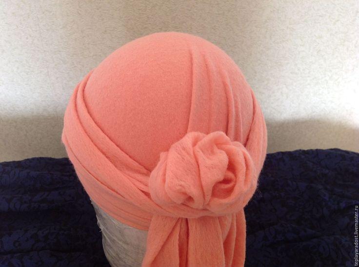 Купить Авторская валяная шапочка-тюрбан - кремовый, авторская ручная работа, головные уборы для женщин