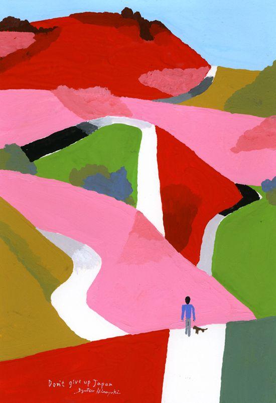 Hiroyuki Izutsu     Flickr http://www.flickr.com/photos/izutsuhiroyuki/sets/72157629230917302/with/8271704046/  Website http://hiroyuki.izutsujimusyo.com/works     His works are soooo colourful and expressive.