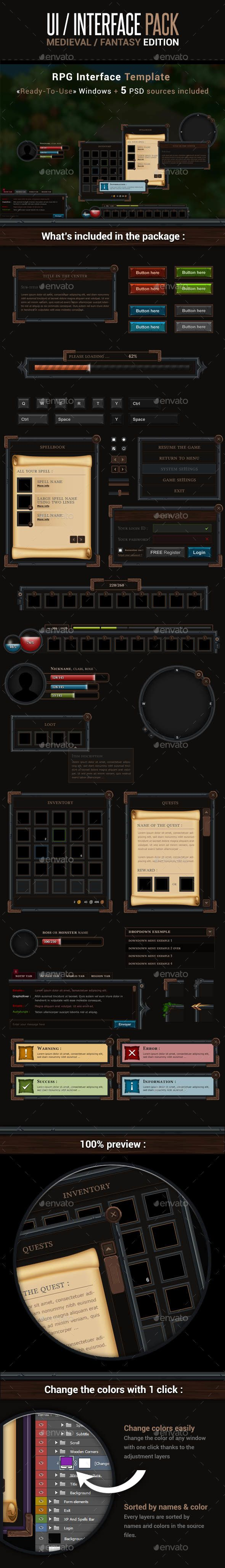 Game UI Interface Pack - Medieval Fantasy Edition - User Interfaces Game Assets