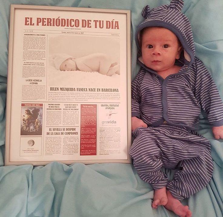 ¿El mejor recuerdo cuando nazca tu bebé? ¡Un periódico personalizado con las noticias que pasaron ese día! ¡Ahora disponible en varios colores! Más información en www.elperiodicodetudia.com  Foto: Instagram @andreitamf84