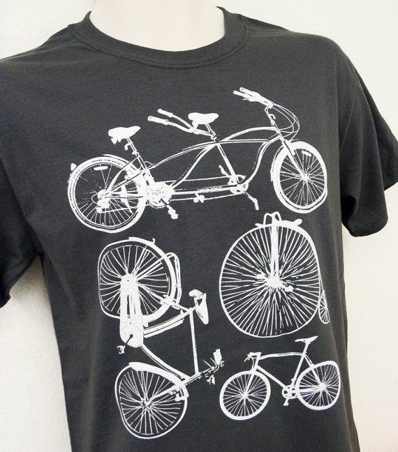 Bike Shirt  Bicycle Collection Mens Unisex GREY by theboldbanana, $14.00