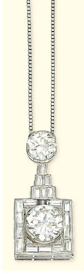AN ART DECO DIAMOND PENDENT NECKLACE The circular-cut diamond within a square-shaped surround with collet-set baguette-cut diamond detail to the similarly-set geometric tiered connection, suspended from a circular-cut diamond collet surmount with box-link chain, pendant circa 1930, pendant 3.5cm long, necklace 55.0cm long
