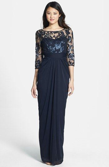 Adrianna Papell Embellished Lace & Tulle Gown available at #Nordstrom - Mother of the Bride Dress
