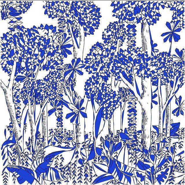illustration bientôt sur Tote bag Dessin jungle blue bleu inspi forest nature
