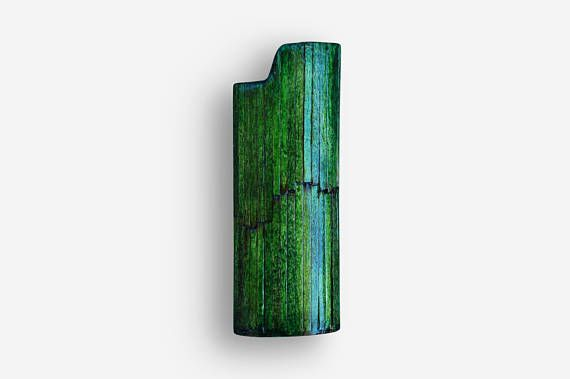 Handmade BIC Lighter Case by Burned Match Sticks  Green Color The handmade case for BIC lighter is made by burned match sticks.  The burned match sticks are glued one by one then they are smoothed, painted and polished.