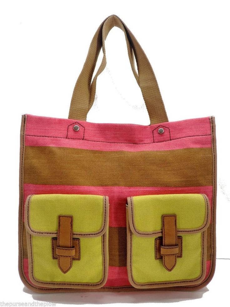 Fossil Handbag Pink Shay Shopper Canvas Shoulder Tote New! NWT #Fossil #TotesShoppers