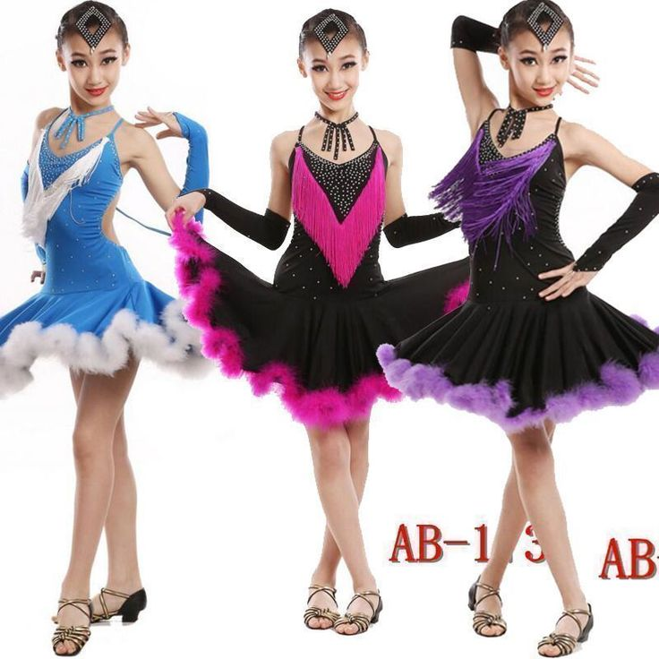 Girls Feather Latin Salsa Dancing Dress Kids Ballroom Dance Wear Costume Outfits #danceoutfits