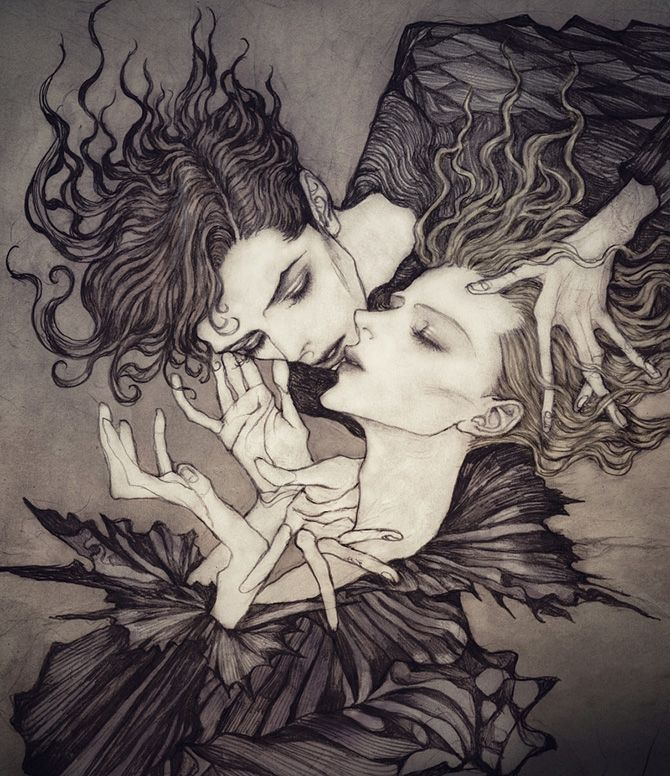 Dark, Art Nouveau inspired illustrations by Jinnn - Bleaq