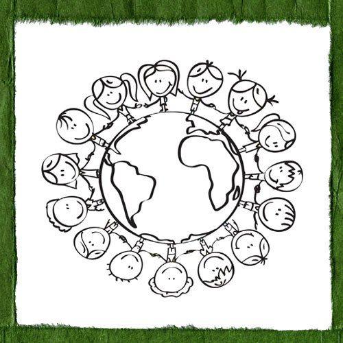 Print and color: earth related cartoons // Dibujos para pintar sobre los niños y el cuidado del planeta