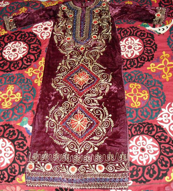 Vintage Moroccan Embroidered Full Length Kaftan Gold by becocooned, $138.00