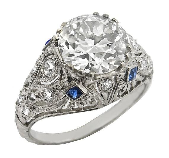 Antique 256ct Diamond Sapphire Platinum by NewYorkEstateJewelry, $19950.00