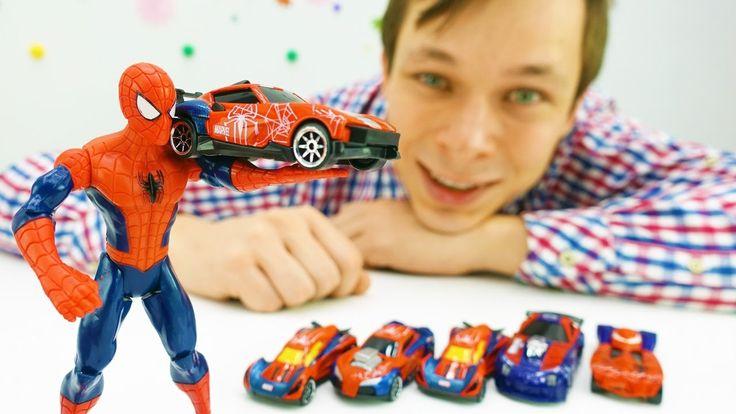 Игры машинки: видео про игрушки Человек Паук и другие! Новая машина Чело...