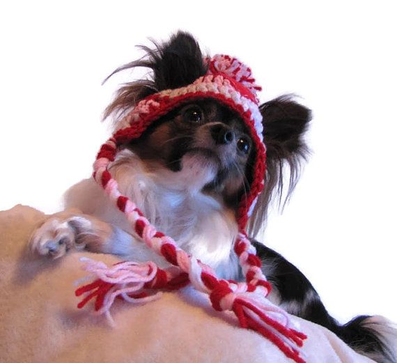Hadley Paige Designs hand crochet pompom hat for your fur baby! Photography prop/ Holiday gift!  ----- C O L O R:  Red, white & pink hat with sparkly red felt heart appliqué (hand stitched)  ----- P A T T E R N:  This hat is made from my pattern & is made to order.  ----- M A T E R