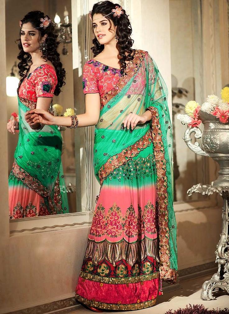 Beguiling Resham Embroidered Lehenga Saree