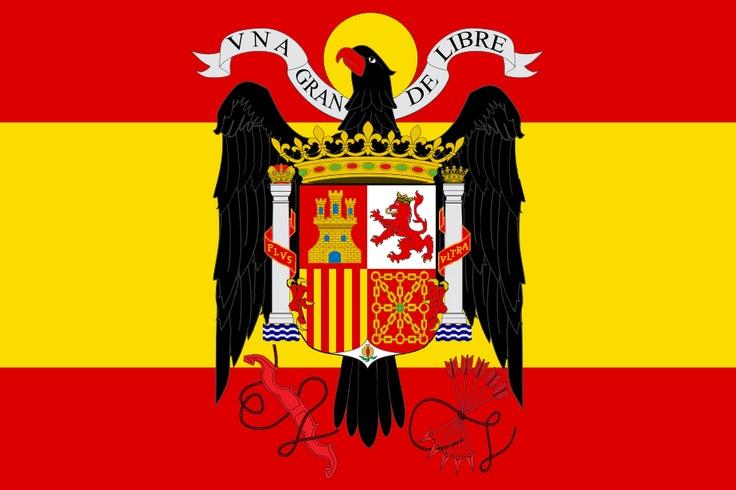 Bandera de España oficial entre 1939 y 1981,durante el Franquismo, la Transición y los primeros años de democracia española.