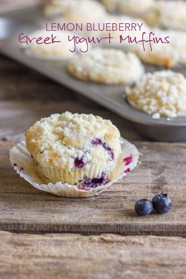 Lemon Blueberry Greek Yogurt Muffins, Tangy blueberries and a sweet, crumbly, buttery streusel topping.~T~ I added a little more lemon zest to these delicious muffins.