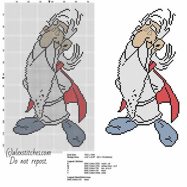 Getafix Asterix character free cross stitch pattern