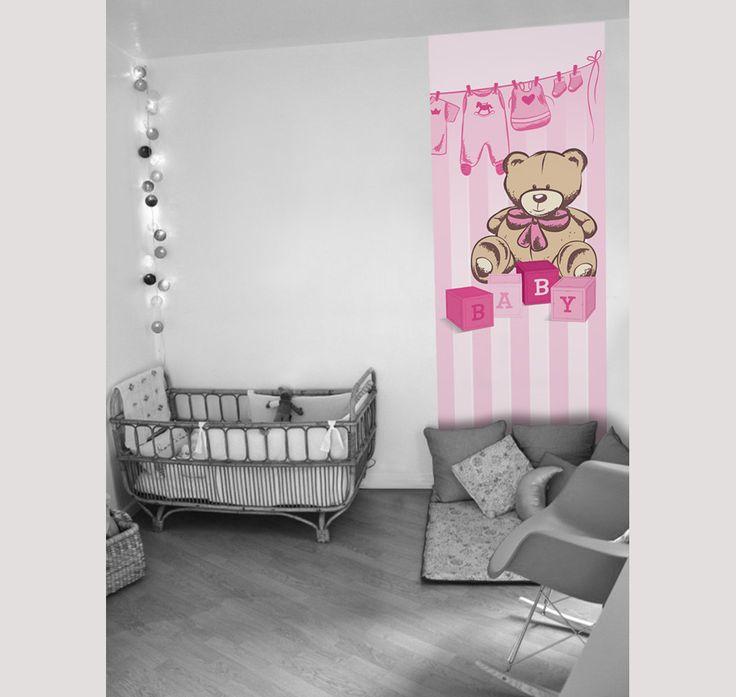 Papier peint chambre b b un gentil ours disponible en 4 for Papier peint chambre bebe