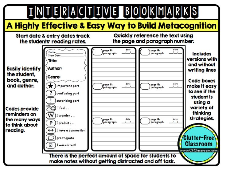 Using Interactive Bookmarks to Teach Students to Think About Their Reading {metacognition, annotated notes, literature circles}