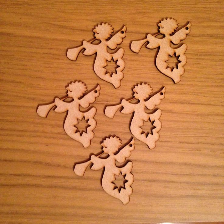 4,25+4,36 5 Wooden Angels Mdf Blanks Christmas Tree Decoration