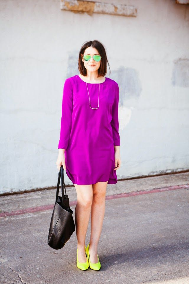 Spring is here! Brighten up your look with a #RadiantOrchid dress and neon accessories! #ColoroftheYear