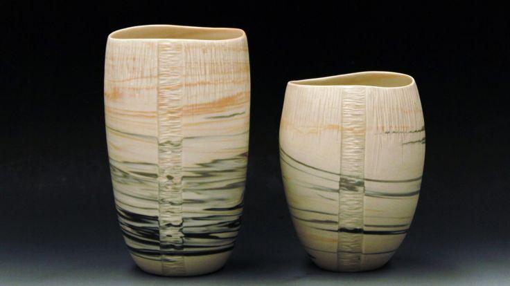 Liesegang silt stone series. Porcelain agateware/ nerikomi wheel thrown vessels. by Danica Wichtermann