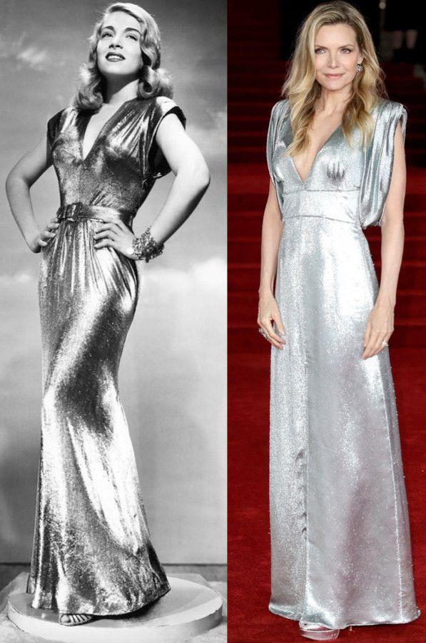 """Lizabeth Scott #Versus Michelle Pfeiffer  La actriz Lizabeth Scott (izda) en """"You Came Along"""" (1945) con diseño de Edith Head.  Michelle Pfeiffer (drcha.) en el estreno de """"Asesinato en el Orient Express"""" (Murder On The Orient Express. 2017) con un vestido plateado de Prada 🚂🕵🔫🔪⭐"""