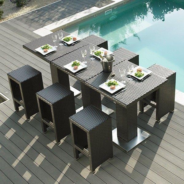 Table haute jardin + 4 tabourets Dolce Vita #jardin #garden #bar #table #design #modern #élégance #noir #black #outdoor #piscine