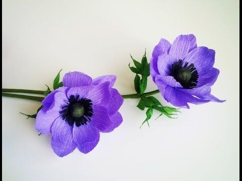 How To Make Anemone Flower From Crepe Paper - Craft Tutorial - YouTube
