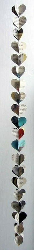 cute: Books Pages, Paper Cut Outs, Paper Garlands, Newspaper Decor, Heart Garlands, Two Heart, Paper Heart, Paper Crafts, Paper Chains