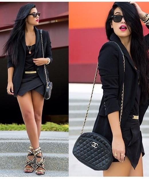 Black And Gold Little Black Dress With Black Blazer And Gold