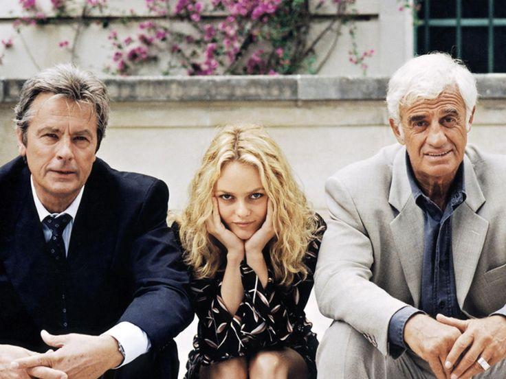 """Alain Delon, Vanessa Paradis et Jean-Paul Belmondo sur le film """"Une chance sur deux"""" © Photo sous Copyright"""