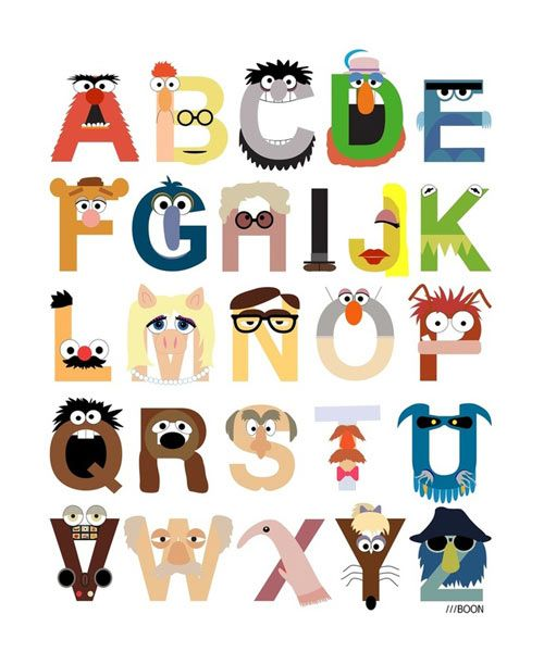 Cute! Muppet Alphabet by Mike Boon: Idea, Art Prints, Alphabet Posters, The Muppets, Mike Boone, Baby, Design, Muppets Alphabet, Kids Rooms