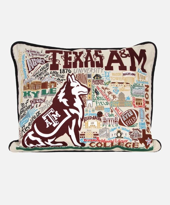 TEXAS A&M EMBROIDERED PILLOW