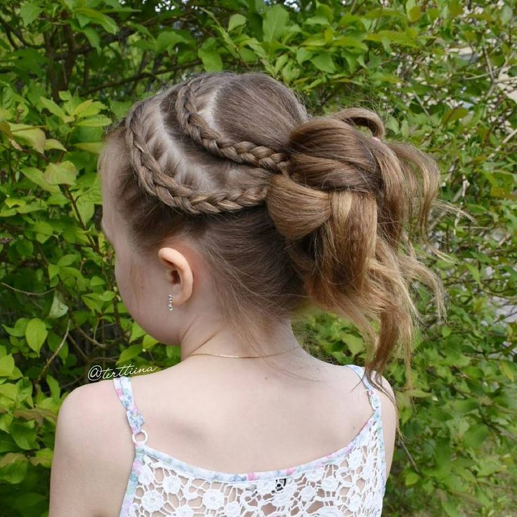 """Hair  by Terhi A (@terttiina) Instagram: """"Small dutch braids into a messy bun on this beautiful girl celebrating the start of the summer holiday"""""""