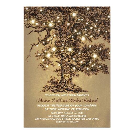 Vintage String Lights Tree Rustic Wedding Invitation Card