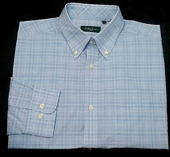 New- Bobby Jones-Blue/Tan Plaid,100% Cotton,BD Fashion Shirt- size M