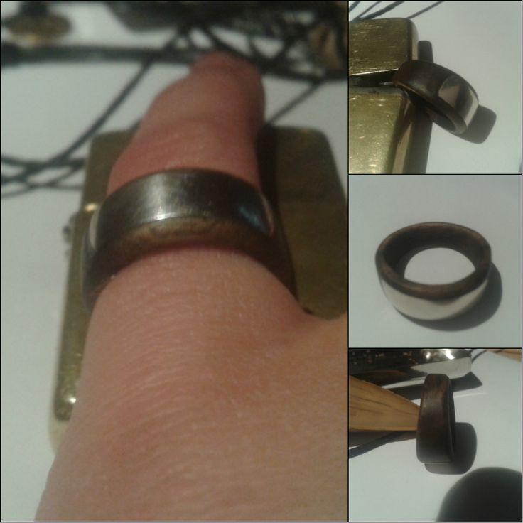 Ring. Wood (walnut) & silver.