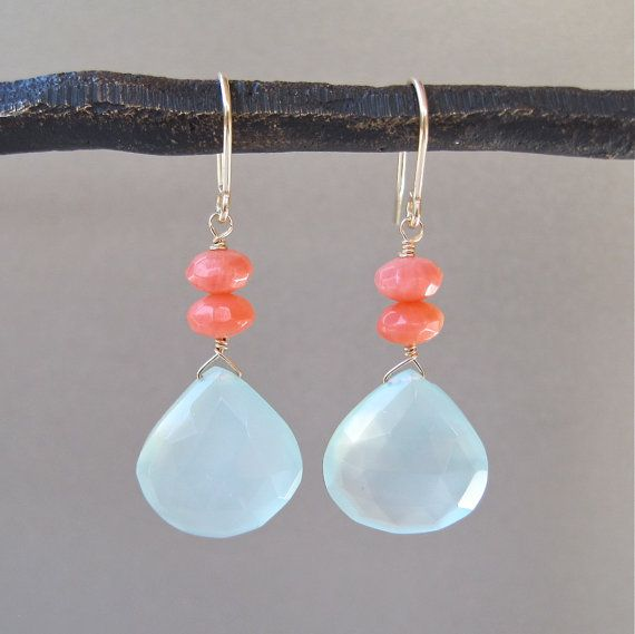 Aqua Chalcedony Briolette Earrings with by tangerinejewelryshop, $46.00