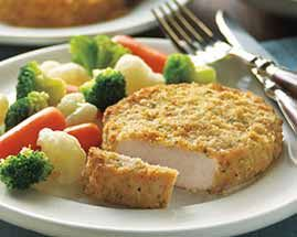 Italian Breaded Ranch Pork Chops: 6	Boneless Pork Loin Chops 3 cups	 Italian-style breadcrumbs 2-3 Tbsp	 grated Parmesan cheese 1 1/2 cups	 Ranch dressing  1. Preheat oven to 350°F. ... 6. Bake 35-38 minutes or until cooked through and golden.