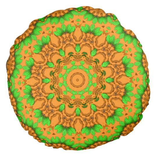 3D Art Mandala Round Throw Pillow by www.zazzle.com/htgraphicdesigner* #zazzle #gift #giftidea #yellow #green #pillow #cushion #abstract #mandala