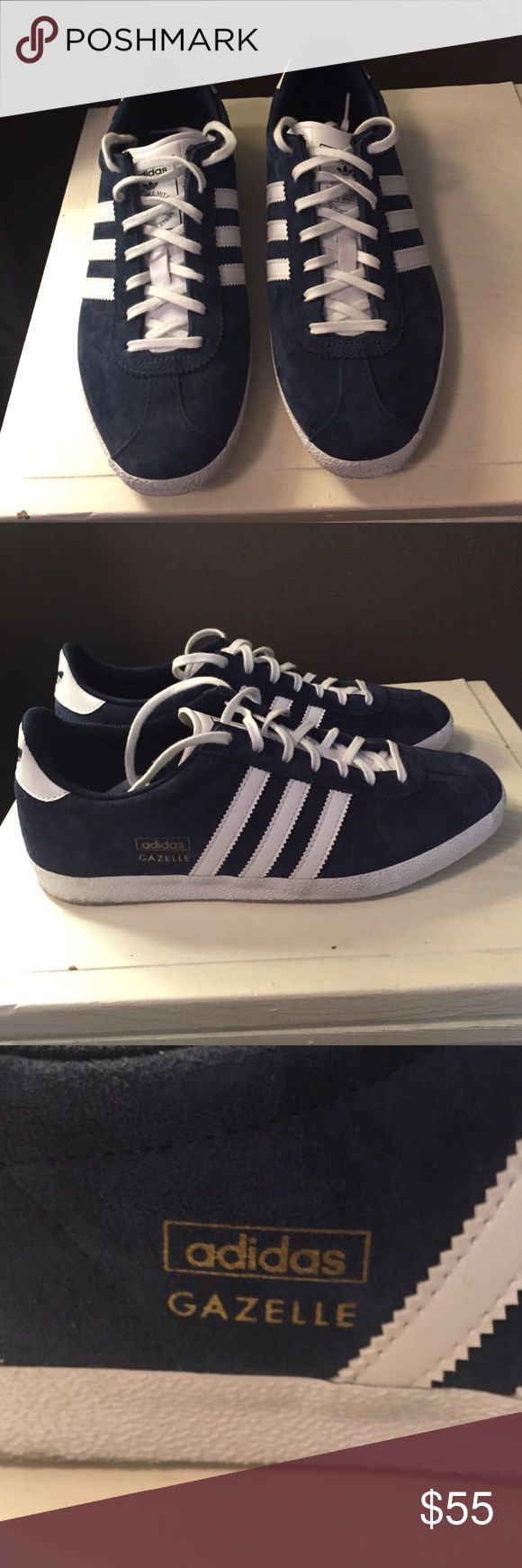 Navy blue Adidas Gazelle Adidas Originals Gazelle OG Trainer in Navy blue suede. Worn 3 times, great condition! Comes with white laces (shown) and navy laces. Women's 8/8.5, men's 6.5. adidas Shoes Sneakers