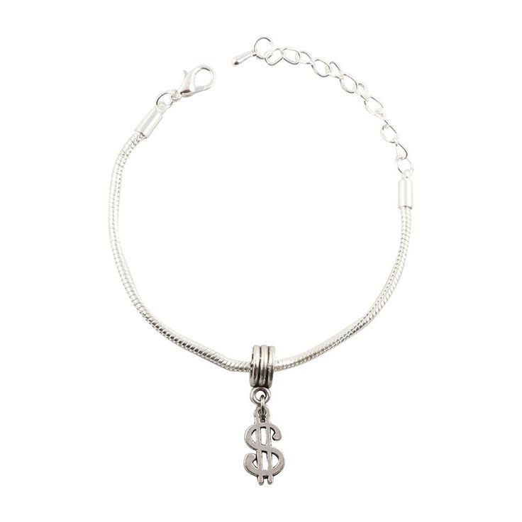 Dollar Sign Snake Chain Charm Bracelet