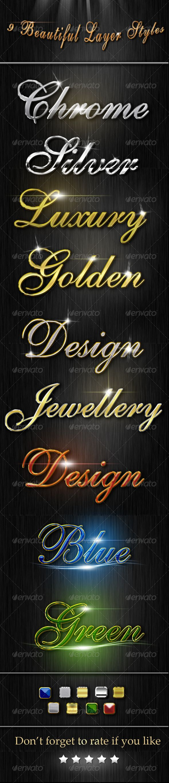 """Beautiful Layer Styles  #GraphicRiver         if you want to add the style pack , open photoshop , go to beautiful style.asl and make double click . -You can apply the same styles to any of your own fonts or objects -download the free used font """"english111 vivace bt"""" :  .fontpalace /font-details/English+111+Vivace+BT/   don't forget to rate it if you like it :    more item ?    text effects              lens flares      Created: 4May13 Add-onFilesIncluded: LayeredPSD #PhotoshopASL…"""