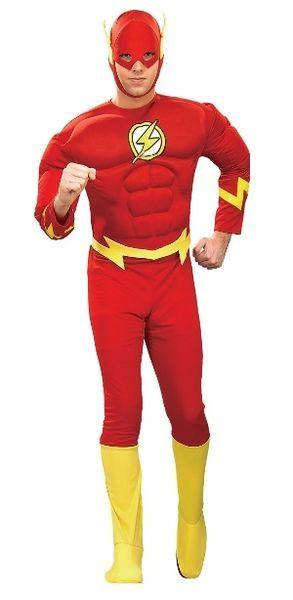 Naamiaisasu; Flash Deluxe asu  Lisensoitu Oikeuden puolustajat (Justice League) Flash Deluxe asu. Muuttaa tavallisen miehen hetkessä salamannopeaksi punaiseksi sankariksi. Lihakset sisältyvät hintaan. #naamiaismaailma